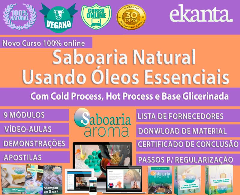 Curso de Saboaria Natural Usando Óleos Essenciais com Cold Process, Hot Process e Base Glicerinada